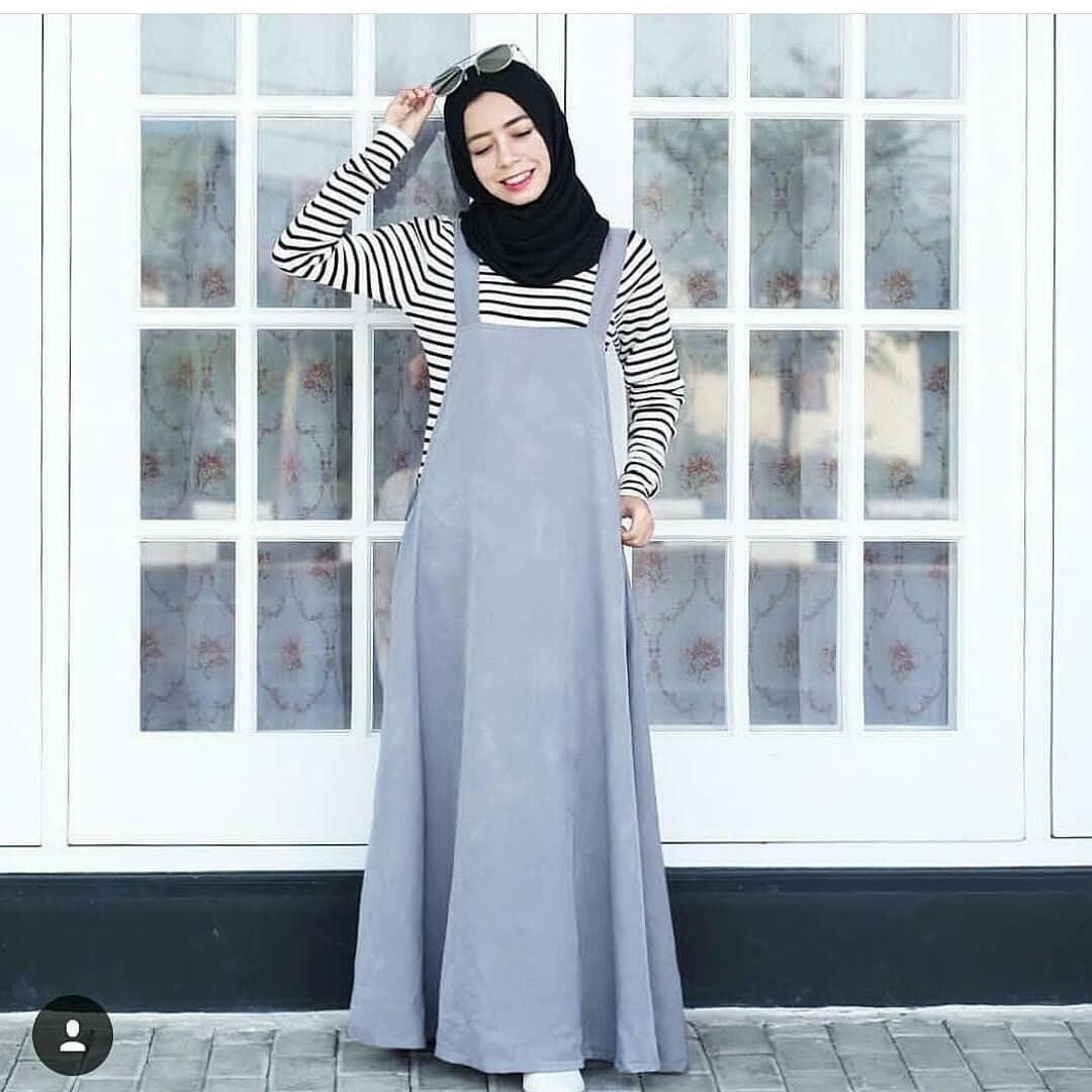 New Baju Original Azmi Set 2IN1 Overall Rok Setelan Atasan + Celana Fashion Wanita Pakaian Muslim Cewek Hijab Casual