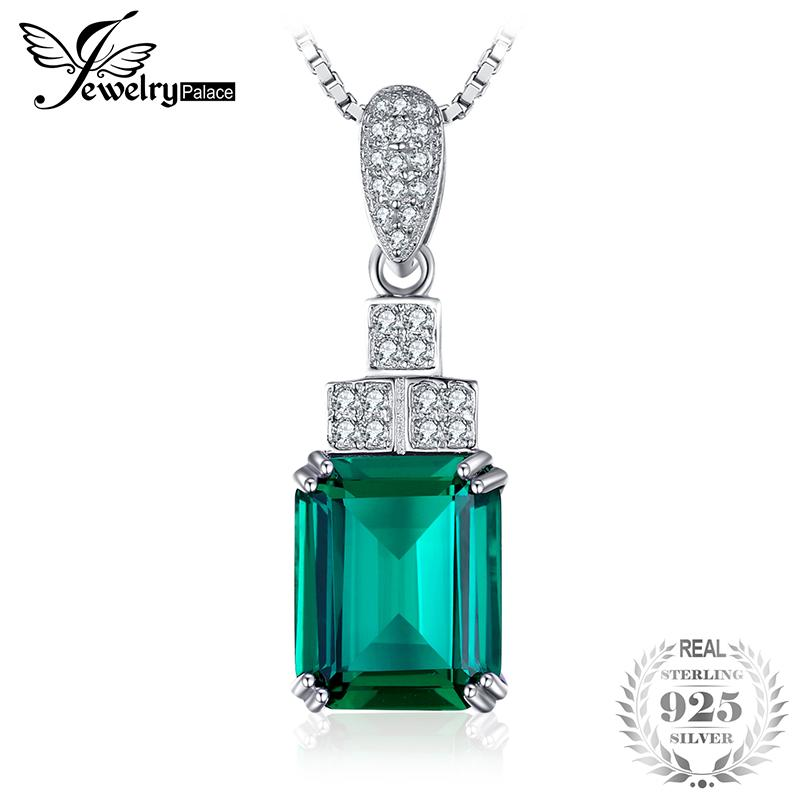 Jewelrypalace 4.5ct Created Nano Russian Emerald Pendant 925 Sterling Silver Not Include A Chain