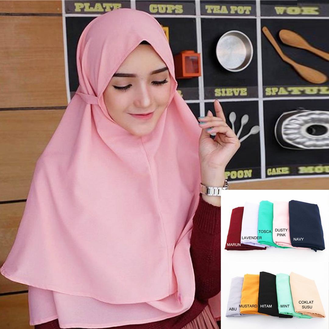 Jilbab Instan Jilbab Kerudung Khimar Bella 2 Layer - Khimar Bergo Dua layer - Hijab Instan Khimar Bergo