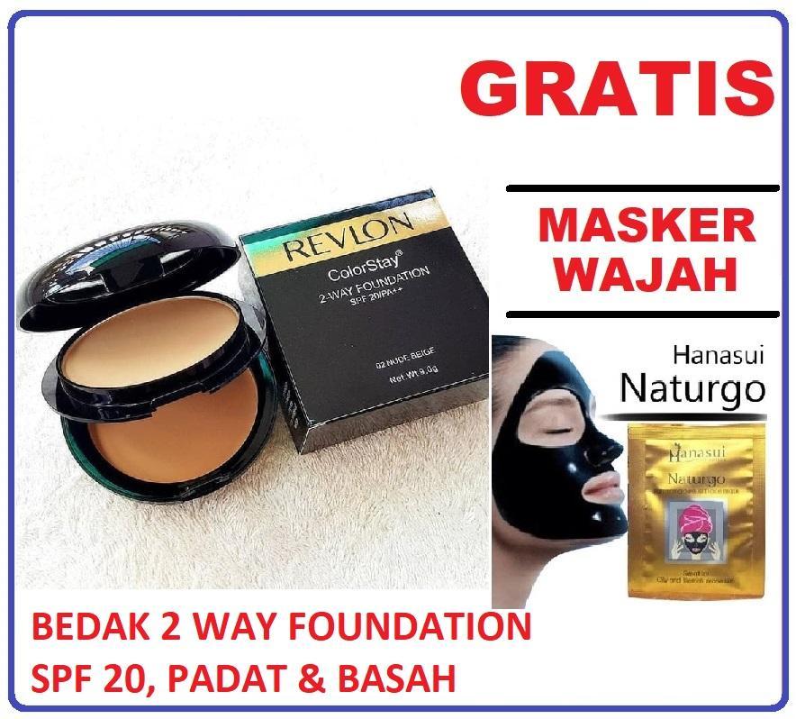 Mesh Bedak Revln Colorstay 2-Way Foundation Spf 20 Bedak Padat Dan Basah 2in1 + GRATIS Masker, Make Up, Lip tint - 1 Pcs