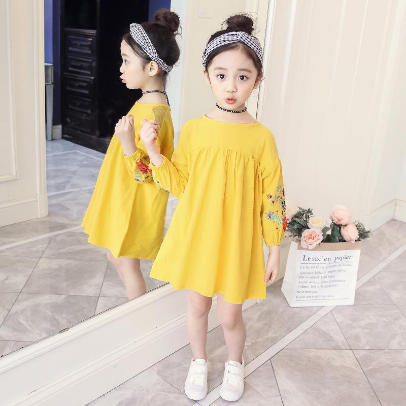 Gaun Putri Baru Baju Terusan Anak Model Musim Semi atau Musim Gugur (Biru Kualitas Jaminan)