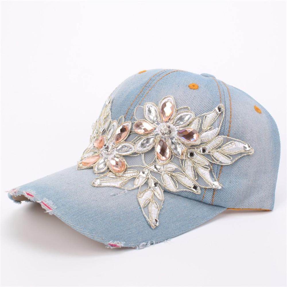 Unisex Diamond Topi Baseball Bunga Unisex Snapback Hip Hop Topi Datar  Fashion f7243f7992