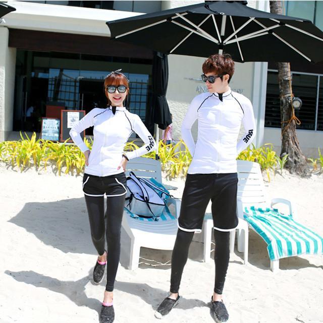 Pasangan Baju Renang Baru Baju Selam Lengan Panjang Celana Panjang (Model Pria Tempat Mantel Ditambah Petinju Celana Pendek)