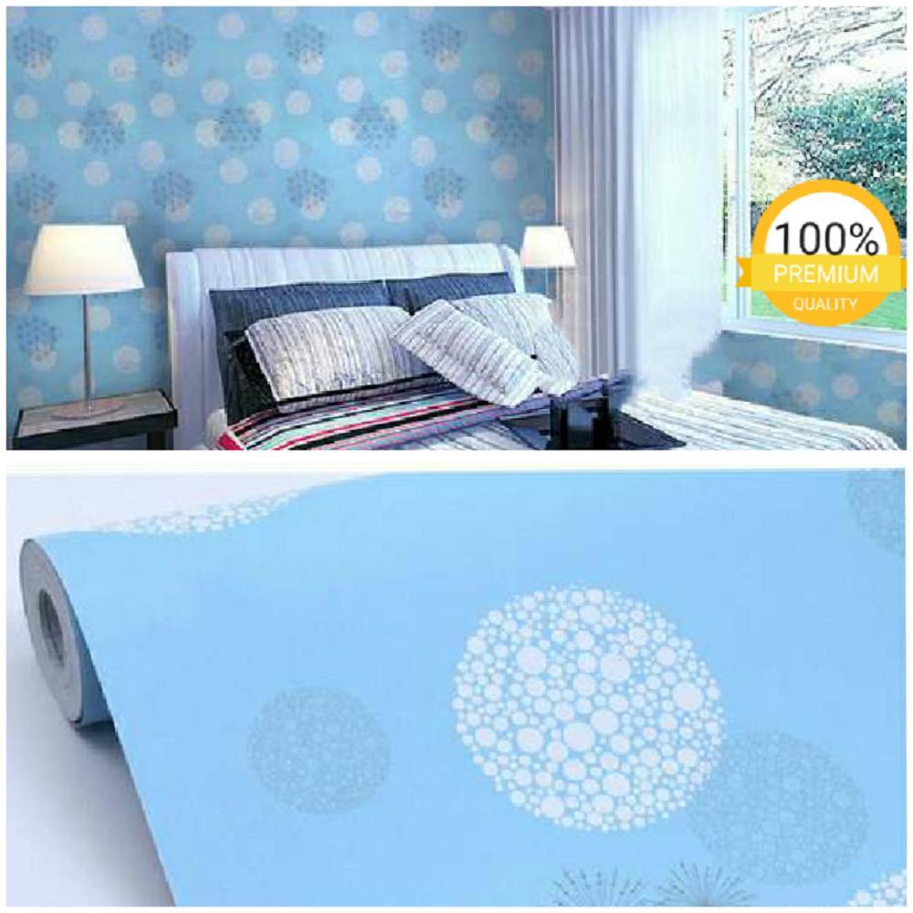 Grosir murah wallpaper sticker dinding kamar ruang indah bagus cantik elegan biru lingkaran putih abu abu