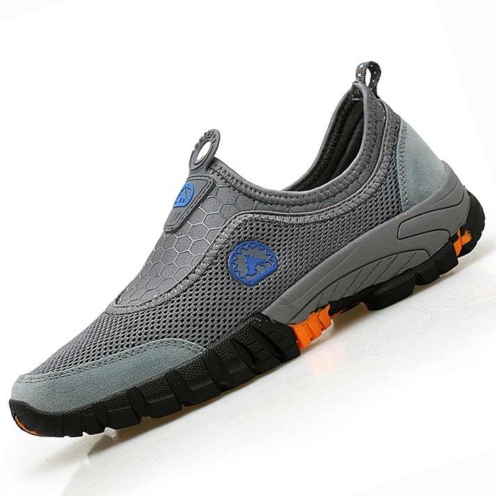 EU39-46 Sepatu Olahraga Ukuran Besar Pria Berkualitas Tinggi Sepatu Daki Gunung Super Bernapas Sepatu Malas Malas Sepatu Jala Olahraga Pria sneakers Daki Gunung Sepatu Malas Selip-On Loafer Jaring Sepatu