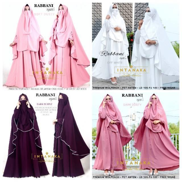 Gamis Rabbani Syari Ori Intanaka Longdress Maxi Wolpeach (Dark Purple)