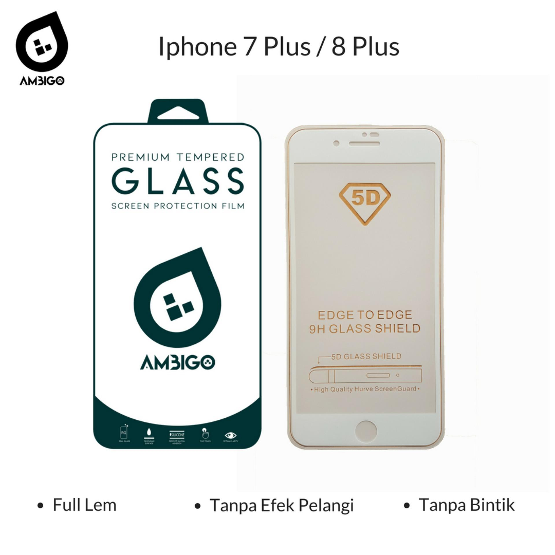 Accessories Hp Ambigo Tempered Glass 5D Full Cover Warna / Anti Gores Kaca Full Lem Untuk Iphone 8 Plus ( 5.5 inch ) - White
