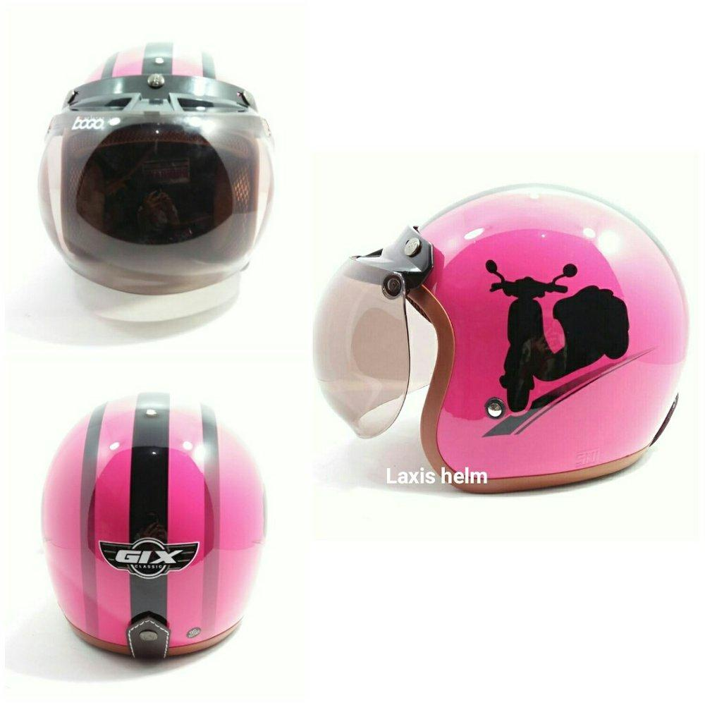 Helm bogo Gix vespa hitam dasar pink