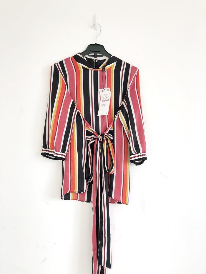 Dress Blouse Wanita  Zara Woman Striped with Belt Authentic