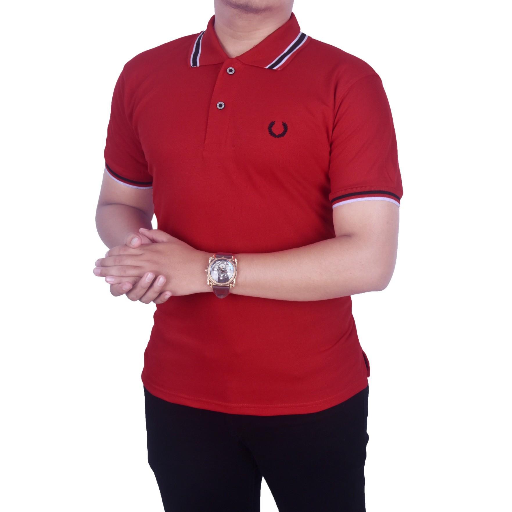 Polo Shirt Pria Terbaru Murah Kaos Kerah Polos  Grosir Bordir Dgm Fashion1 Baju Merah Pantai