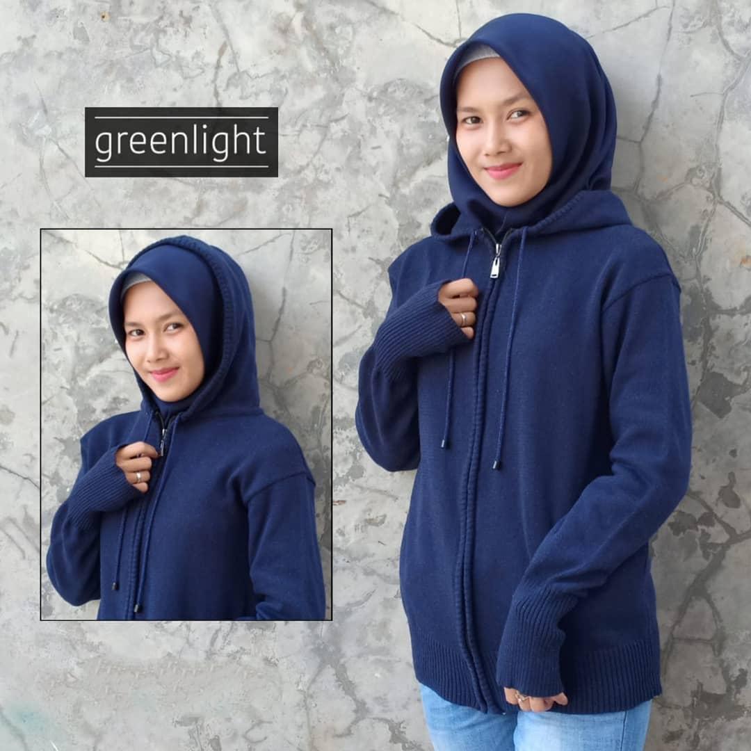 Greenlight - Jaket Sweater Hoodie Rajut Wanita Terbaru - Navy
