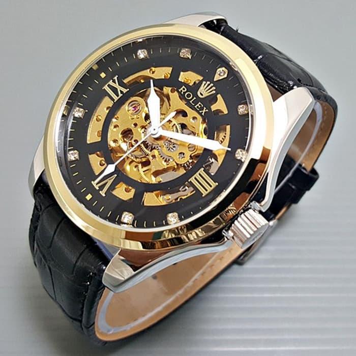 Jam Tangan Pria / Cowok Rolex Kulit Automatic Skeleton Big Size Romawi Black Gold / Jam Tangan Hight Quality / Jam Tangan Terlaris / Jam Tangan Impor / Jam Tangan Unik