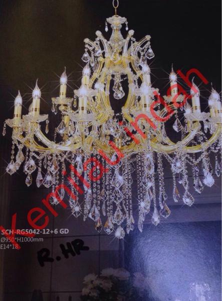 Lampu Gantung Kristal Lilin Gold 12 6 Rg5042 By Penjual Resmi.