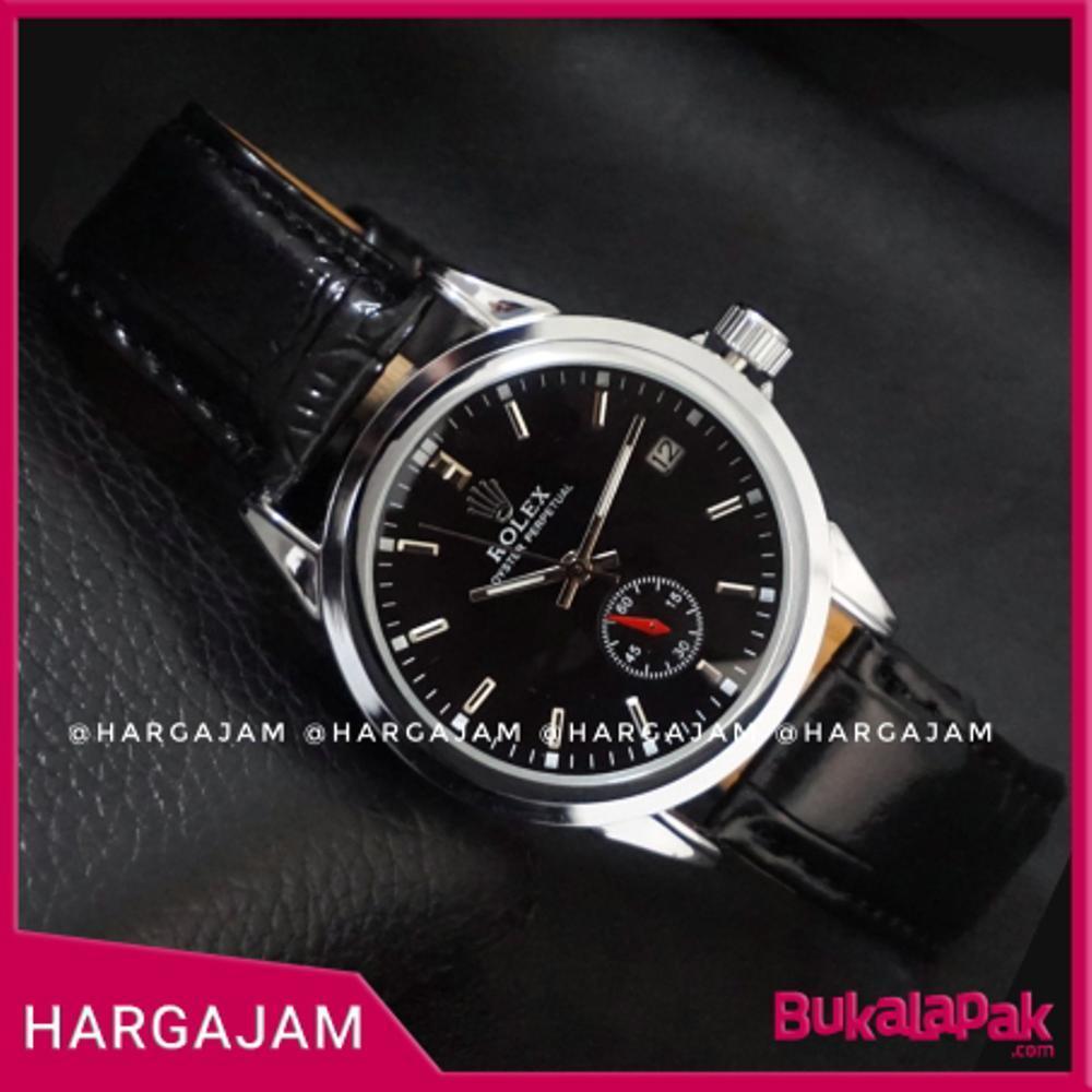 Jam Tangan Automatic Rolex Oyster Perpetual R0936 Strap Leather Black (Hargajam Matic Otomatis Chrono Detik)