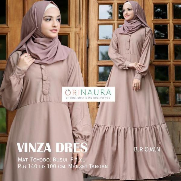 Spesial Gamis Muslimah Dress Katun Toyobo -Vinza Dress- Ori Naura Termurah