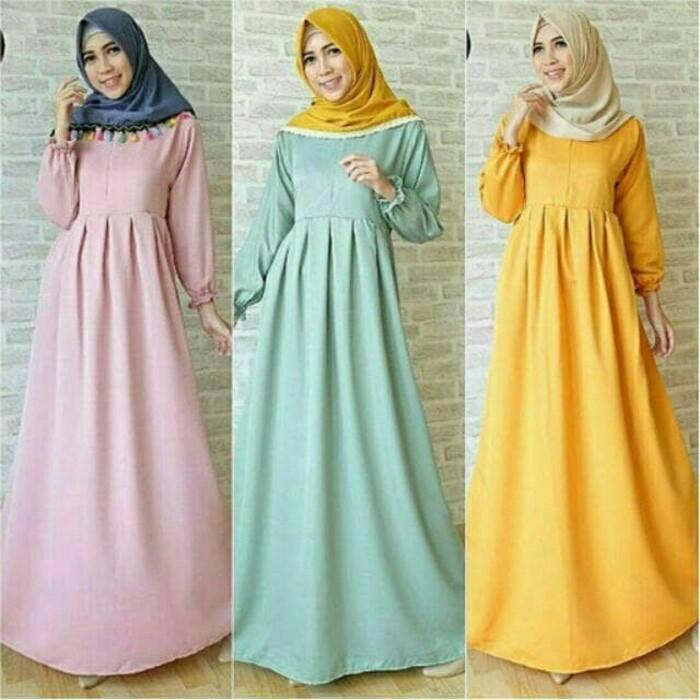 Anjany Gamis Syari Wanita | Tunik Fashion Muslim Kekinian | Baju Muslim Lebaran + Hijab Fashion