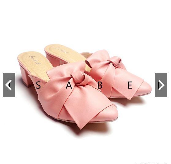 Isabel CHELSEA Sepatu Selop Wanita Pita Ikat Hak Tahu Casual High Heels Hitam Moka Tan Pink