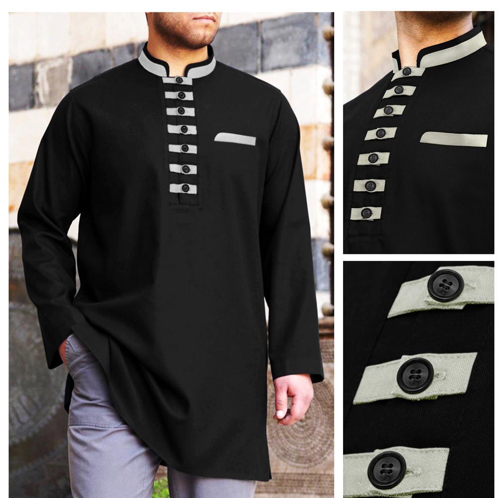 Baju Muslim koko Akhtar Hitam Lengan Panjang