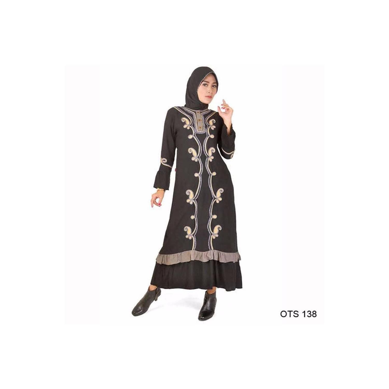 murah Baju Gamis wanita Bahan Katun warna Hitam