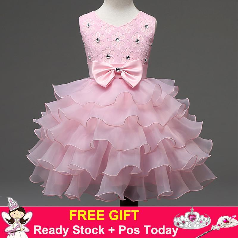 Kids Girls Party Wedding Princess Formal Ball Gown Flower Sequin Diamond Layer Tutu Dress (Pink) - intl