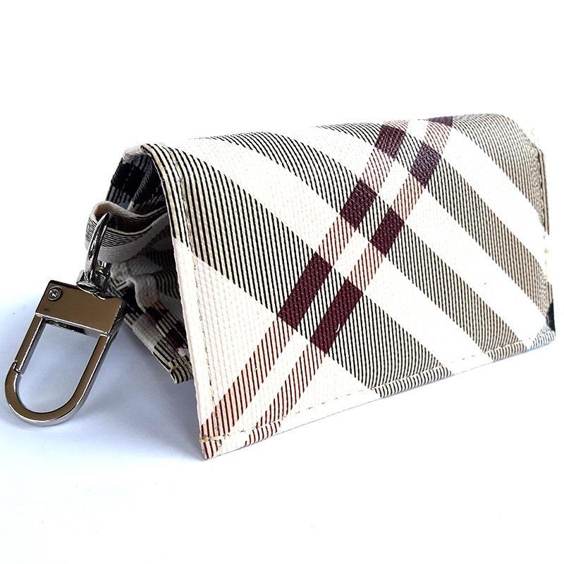 Lasido Dompet Gantungan Kunci Mobil Motor STNK Motif Kotak Car Key Chain PU Leather Lipat Pocket
