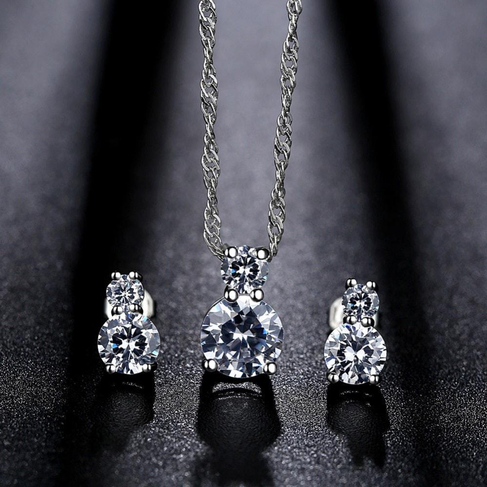Diskon Promo Perhiasan Aksesoris Set Perhiasan Kalung Anting Silver Lapis Platinum Berlian CZ BN054 Murah