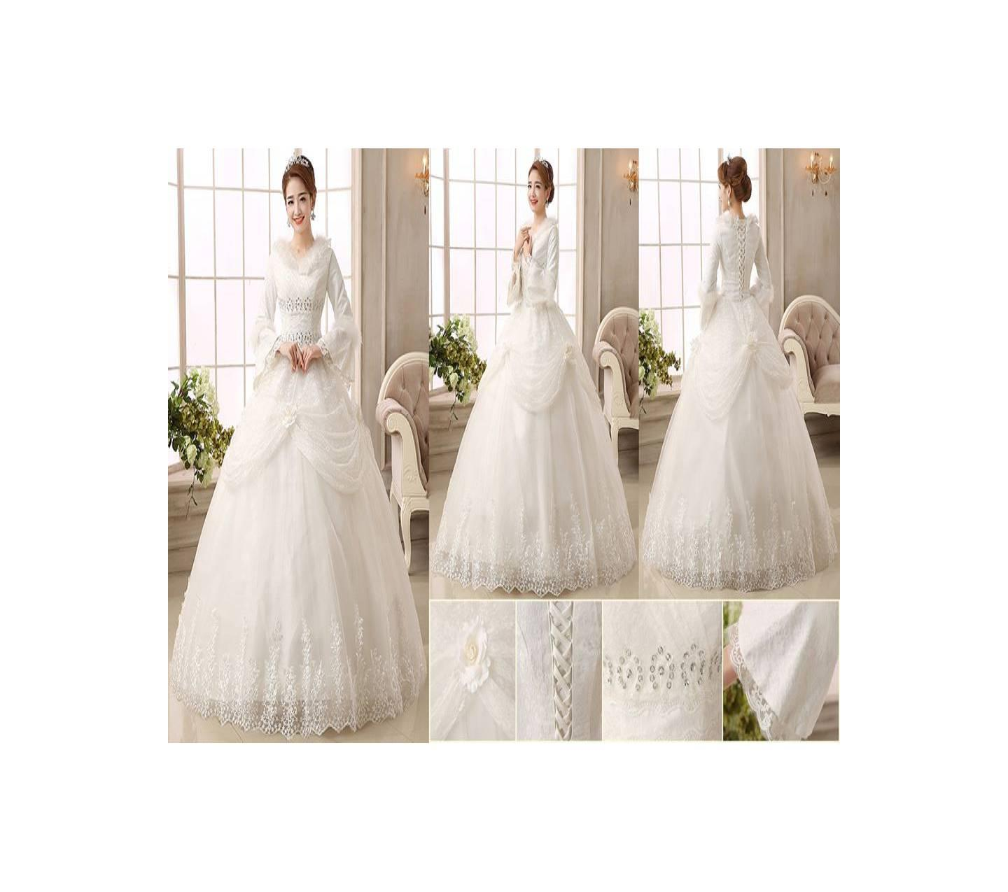 Gaun pengantin wedding dress import muslimah lengan panjang