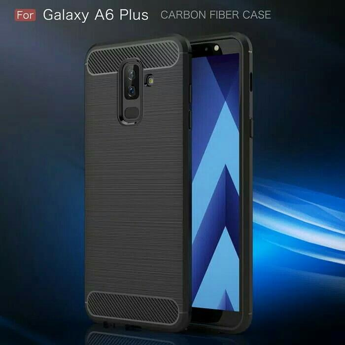 Best Seller - Fiber Line Case Samsung A6 - A6 Plus 2018 Soft Carbon Casing Cover Tpu - Casing Hp Terlaris Dan Terbaru