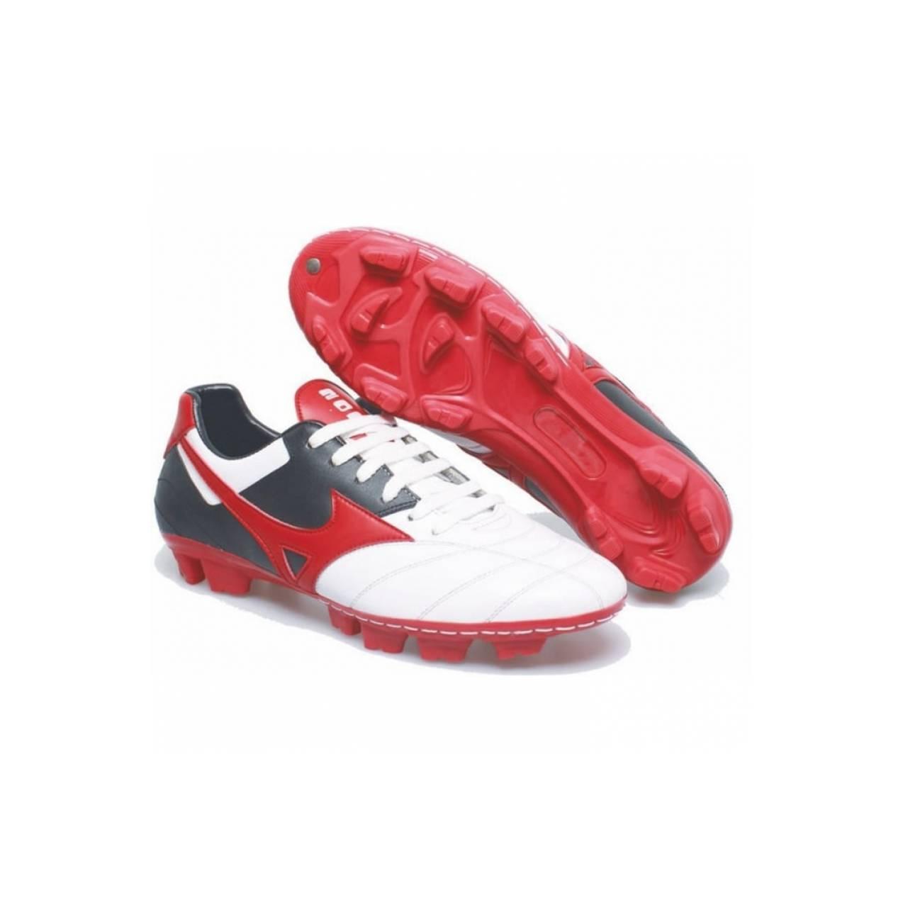 sepatu bola putihmerah bahan KULIT sepatu sepakbola murahba T2909