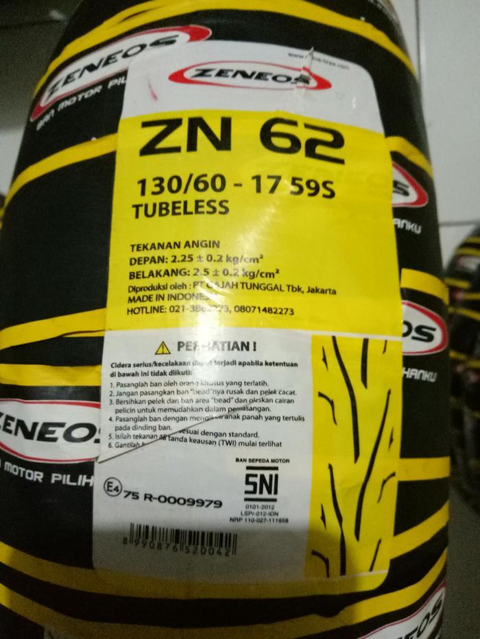 Ban Motor Zeneos 130/60-17 ZN 62 Tubeless