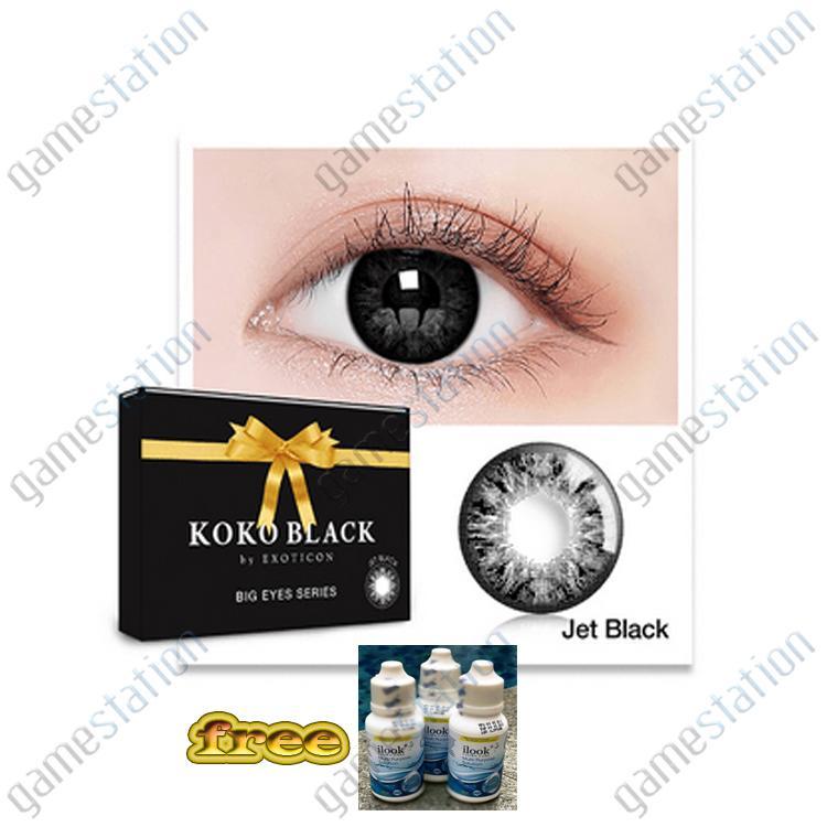 KOKO BLACK Softlens BY Exoticon Big Eyes - Jet Black Free Cairan ilook