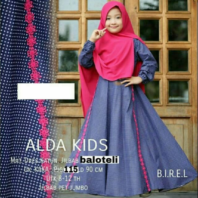 Dress fashion muslim anak perempuan gamis hijab syari katun - ALDA POLKA KID (lavender)