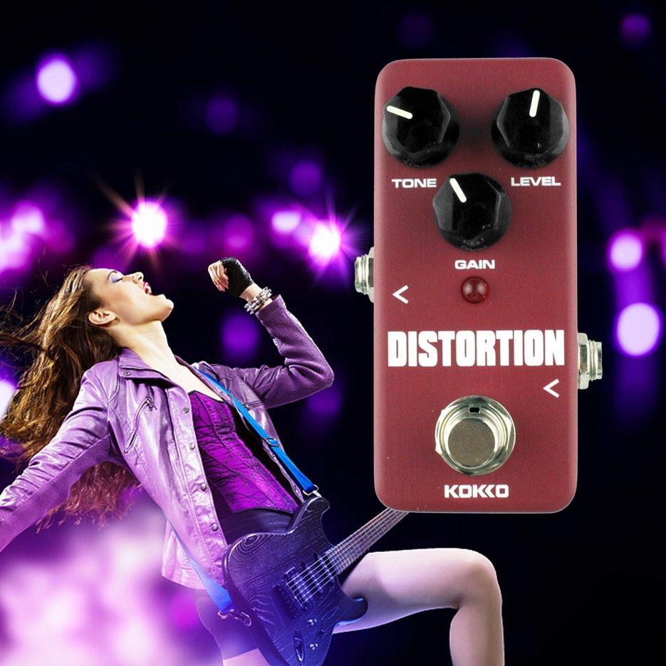 Darieldrin FDS2 Mini Distorsi Gitar Portable Efek Pedal Distorsi Efek Nada Anggur Merah