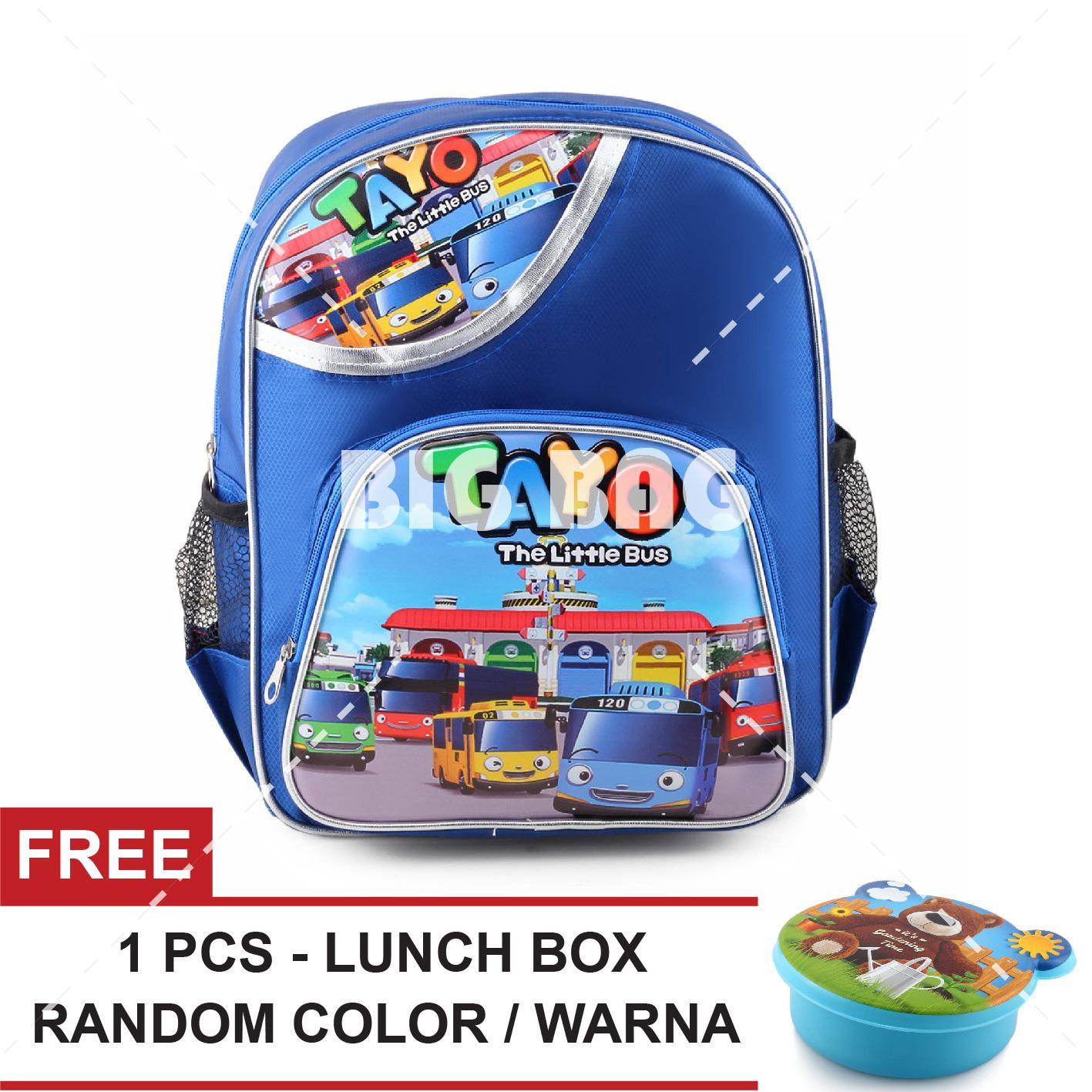 Tas Ransel Anak - Tayo The Little Bus - Ready For The Race - School Bag Tas Sekolah Anak + FREE Lunchbox Random Color / Model Tas Anak Tas Sekolah Tas Anak Karakter