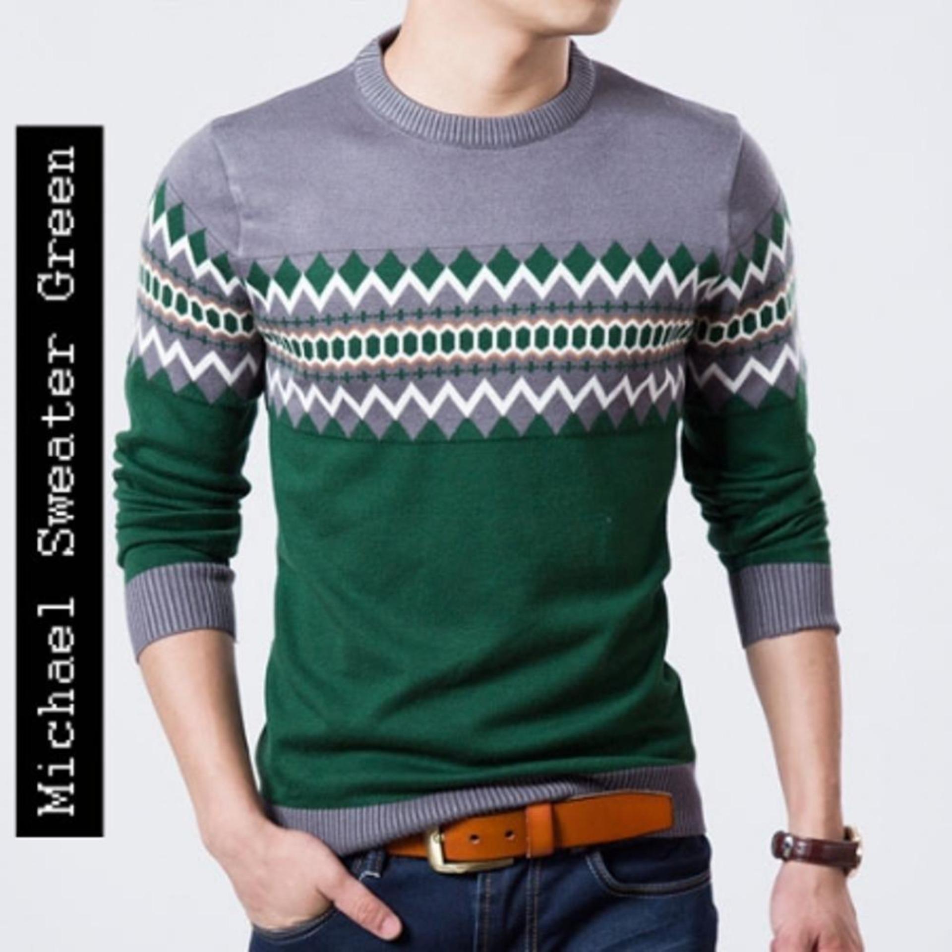 Sweater Rajut Ariel Dengan Hoodie Pria Banyak Warna Michael Green Tribal