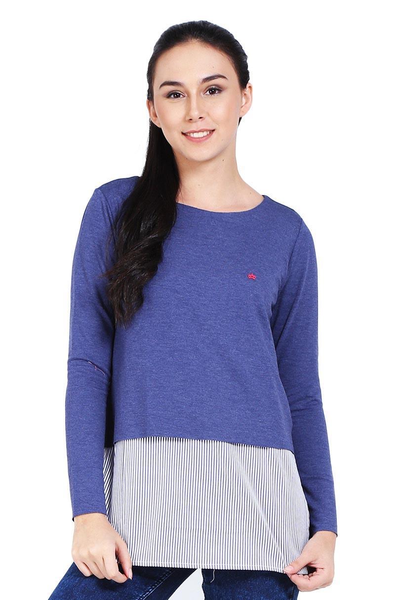 3 second Pakaian Blouse dan Kemeja Wanita Ladies Shirt Blue