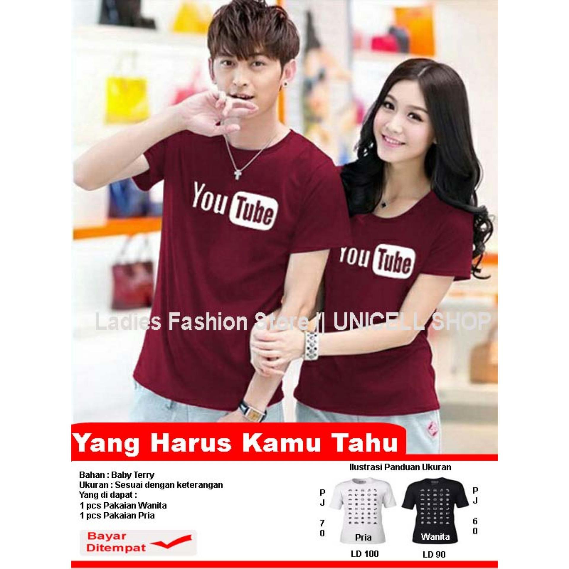 Kaos Couple Youtube / Kaos Oblong Fans Club / Kaos Murah / Tshirt Pasangan / Pakaian Kembar / Kaos Pria Wanita LC D30 - Maron D3C