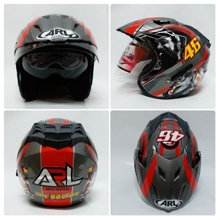 Helm Valentino Rossi 46 MotoGP Abu Grey Double Visor SNI