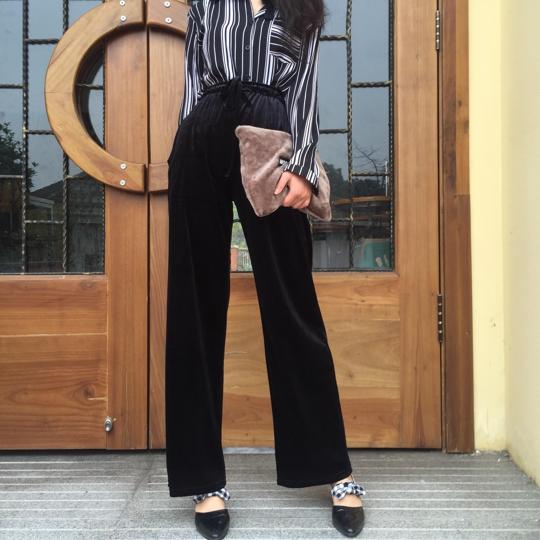 Kulot Beludru Warna Solid Pinggang Tinggi Renda Celana Panjang Wanita Longgar Hitam
