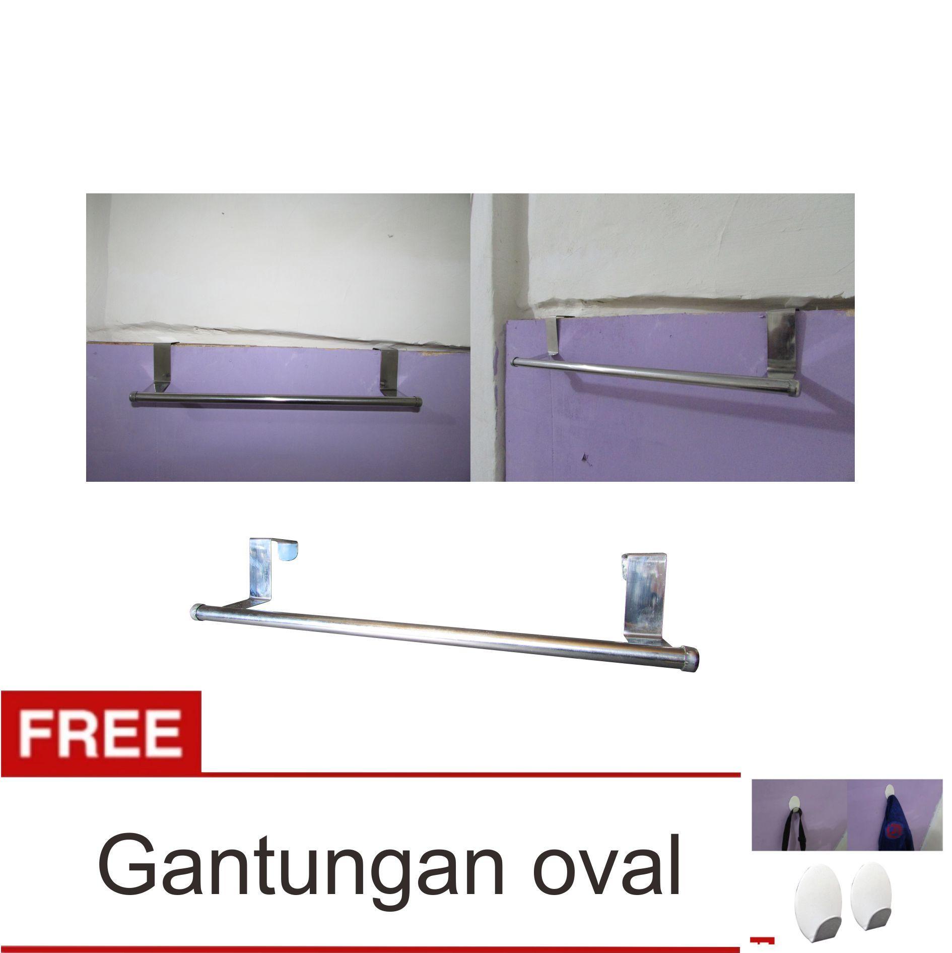 Lanjarjaya Stainless Steel Gantungan Handuk Bar Kamar Mandi Tanpa Paku + Gantungan Oval Set