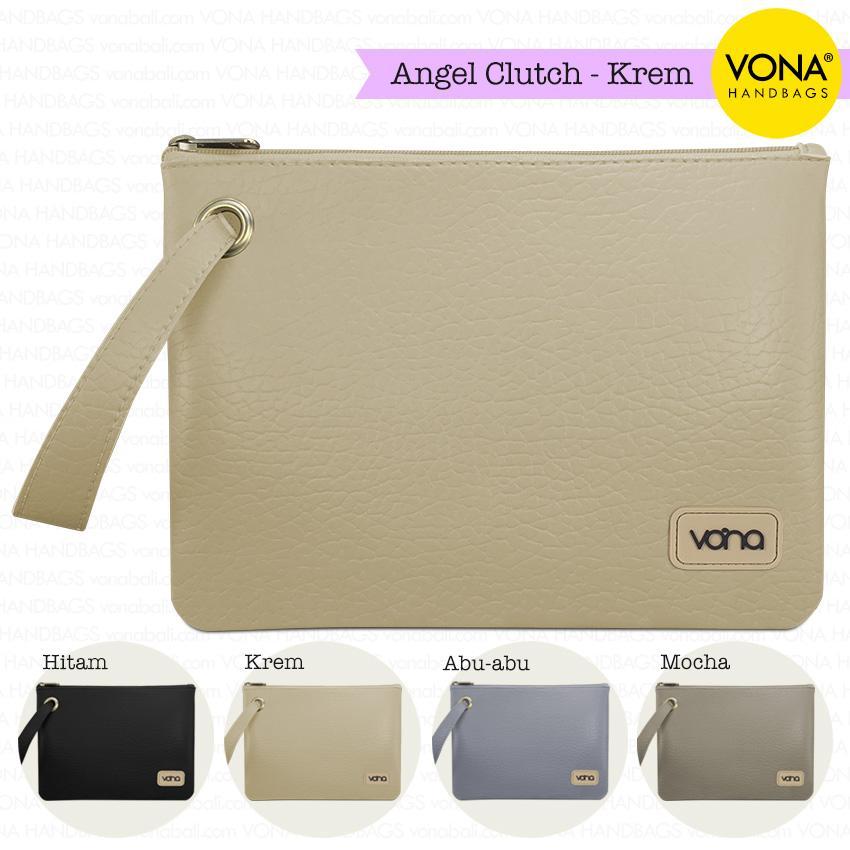 VONA Bags - Angel [Krem] - Tas Clutch Wanita Remaja Cewek Kecil Mini Cantik Dompet Pouch HP Branded Original Murah Tali Lebar Korean Style Fashion Bali Kulit Sintetis PU Leather Women Girl Hand Bag Handbag Wristlet Best Seller New Arrival Baru Terlaris
