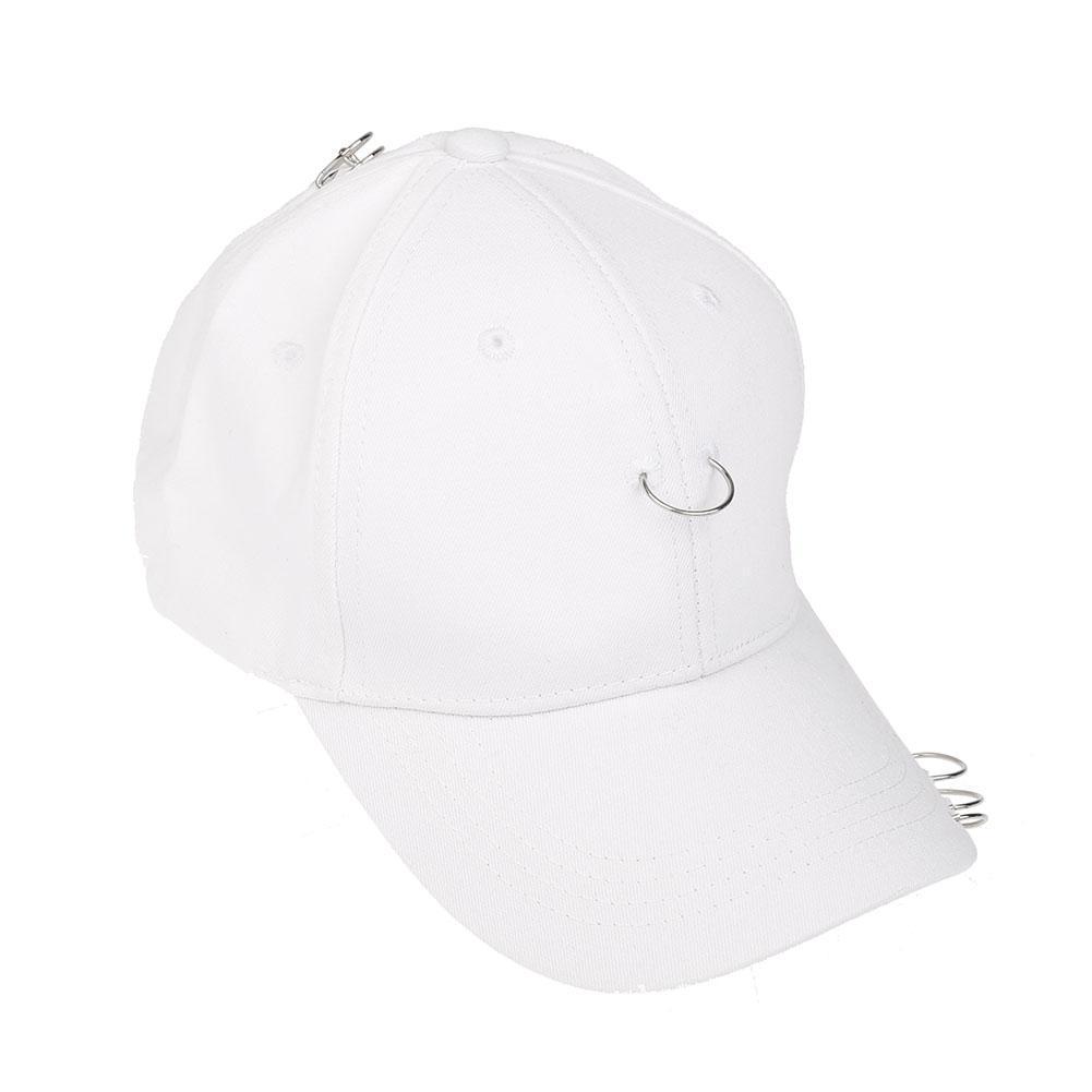 Pria Wanita Cincin Hip-Hop Melengkung Snapback Topi Bisbol (putih)-International