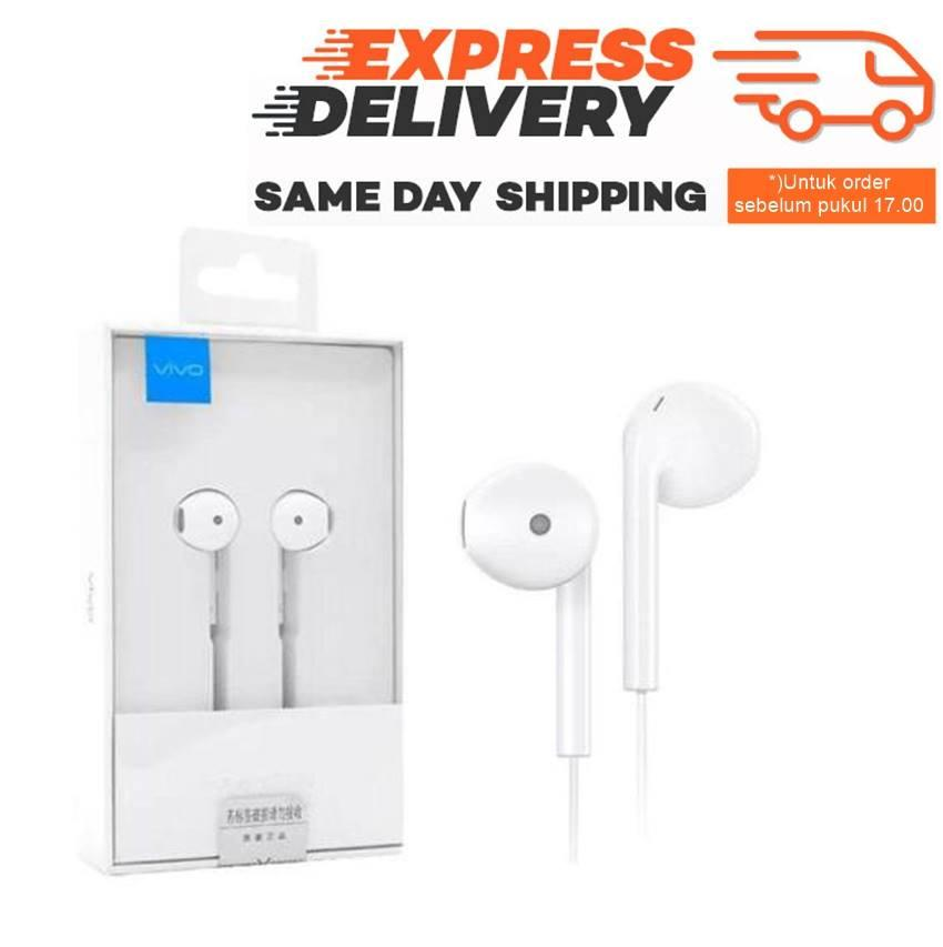 Vivo Handsfree XE680 Earphone In-Ear Vivo V5 V5s V5 plus Y53 All Smartphone Jack 3.5m Original 100% In-ear New Headset - White / Putih