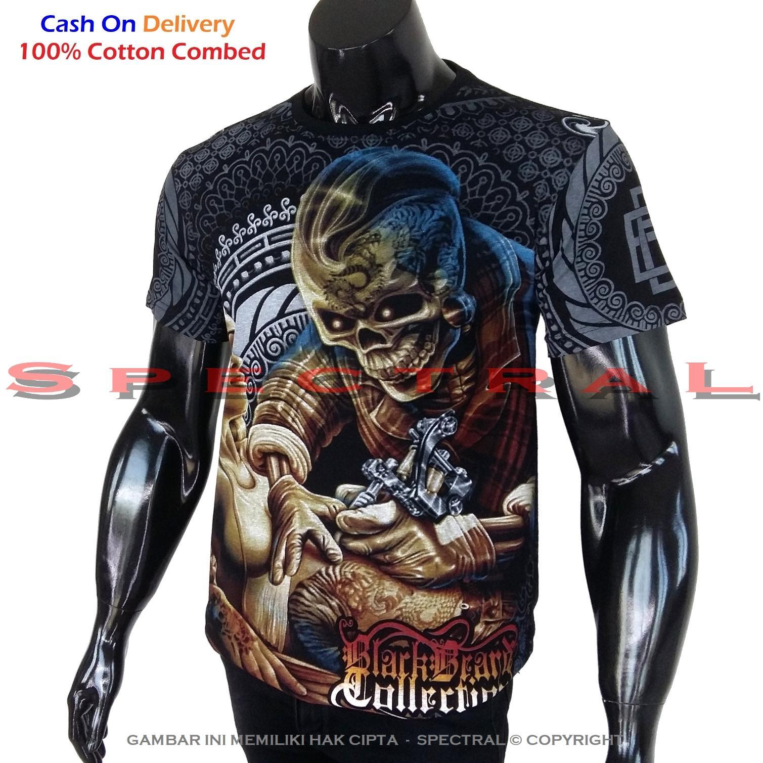 Spectral - Black Premium Cotton - Kaos Tengkorak - Pure Cotton Combed 30s - Zombie Metal Horor Seram - Real Pic - Ready Stock - Jakarta - Distro Bandung - Keren - Bahan Bagus - Lembut - Nyaman - Adem - Awet -  Simple Fashion - Lazada Express - Hitam