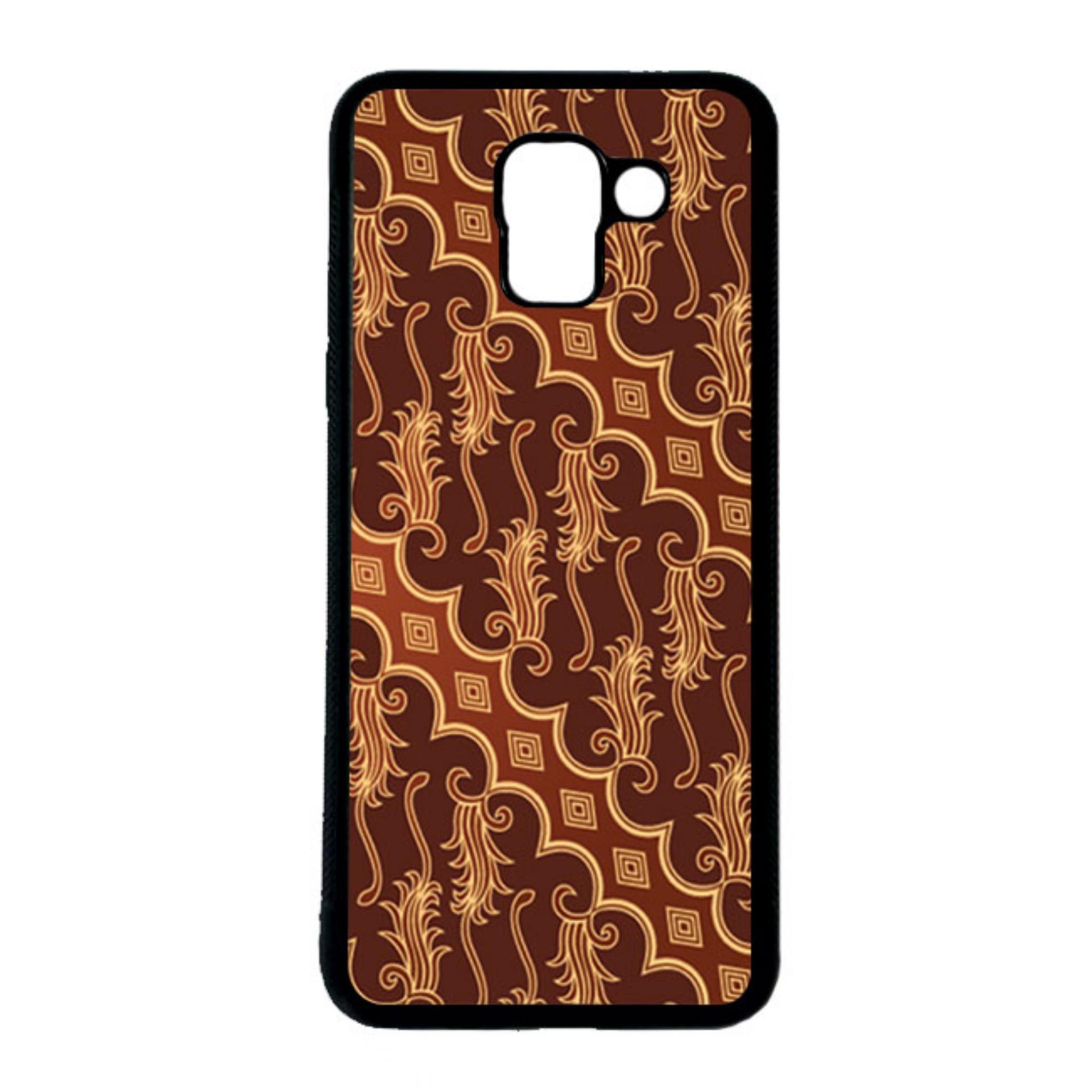 HEAVENCASE Casing Case Samsung Galaxy J6 Case Softcase Hitam Motif Batik Bunga 12