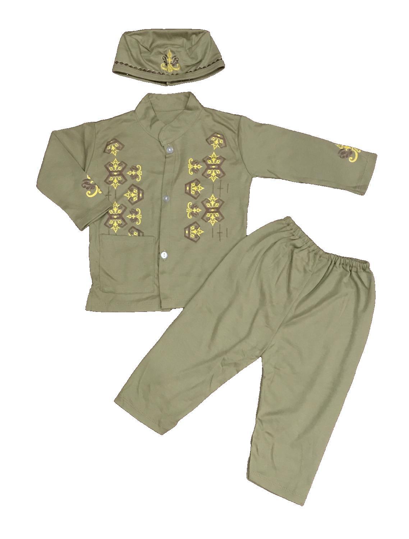 BAYIe - Setelan Baju Bayi Muslim Laki Laki BJ/ Baju Koko Bayi cowok + Kopiah/Peci umur 1 - 2 tahun