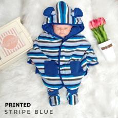 Jaket Bayi / Mantel Bayi / Selimut / Baby Cape Cuddle Me Motif Printed Stripe Blue