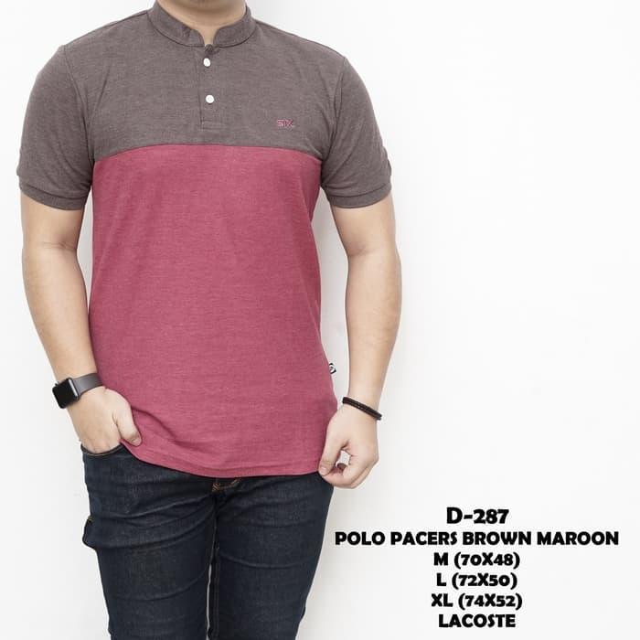 Kaos Pria | Polo Shirt Polos Katun Pria | Polo Pacers Brown Maroon - awei0q