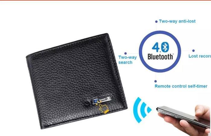 Dompet Pintar Anti Hilang model pendek Bahan Kulit GPS tracker D1