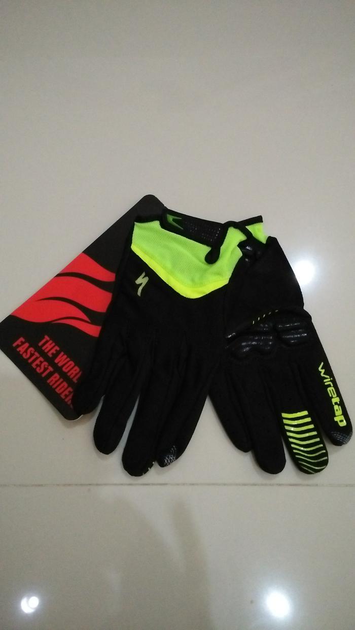 ORIGINAL  Sarung Tangan Gel Specialized Full Finger Warna Hitam List Hijau